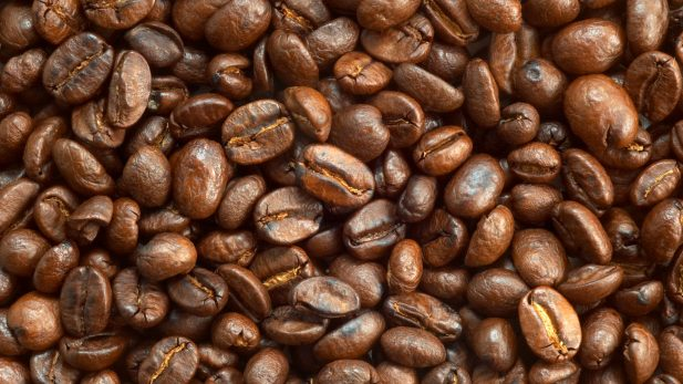 textured background: brown roasted coffee beans macro closeup